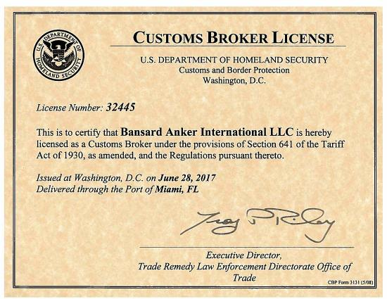 BANSARD ANKER USA IS LICENSED AS A CUSTOMS BROKER | Bansard